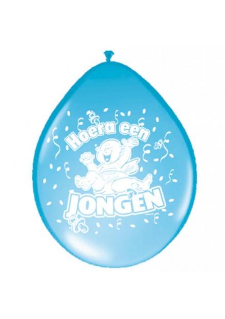 Ballonnen 30 cm Hoera een jongen 8 stuks
