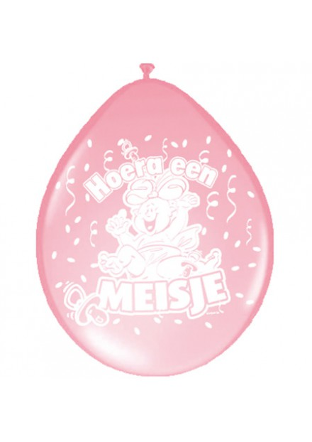 Ballonnen 30 cm Hoera een meisje 8 stuks