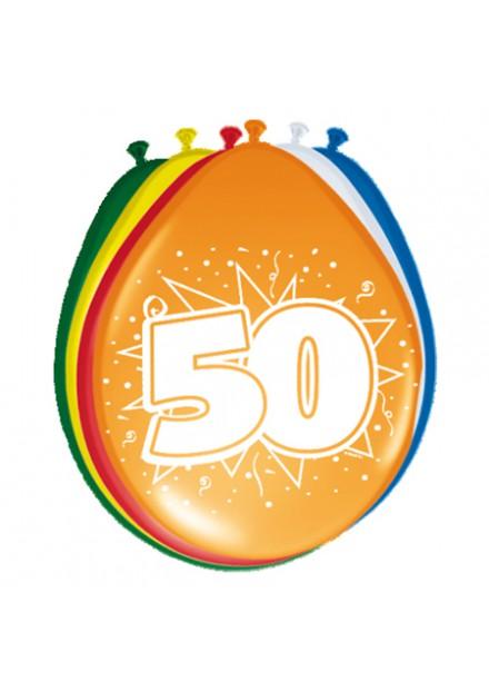 Ballonnen 30cm 50 jaar /8 stuks