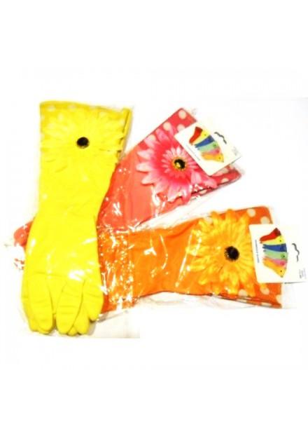 Hg huishoudhandschoenen met bloem  maat s