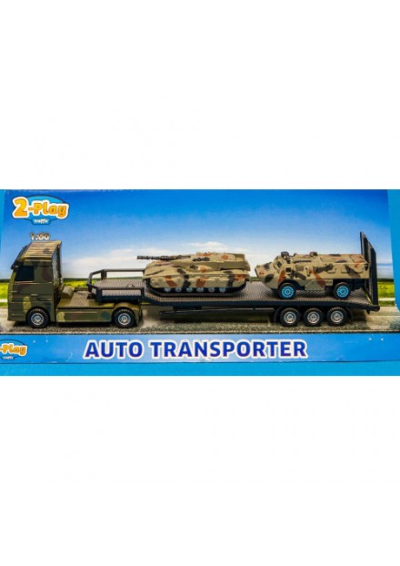Military Transporter Die Cast Plastic + 2 Tanks