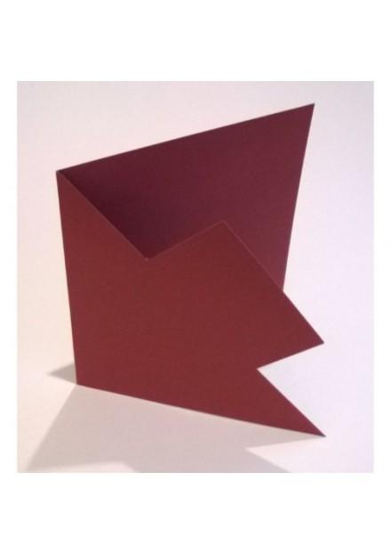 Vierkante kaarten 5 stuks uitgesneden bordeaux rood