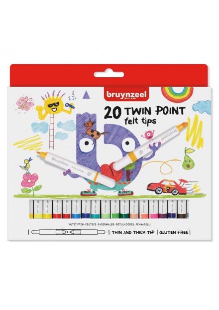 Bruynzeel Viltstifen Twin Points 20 Kleuren